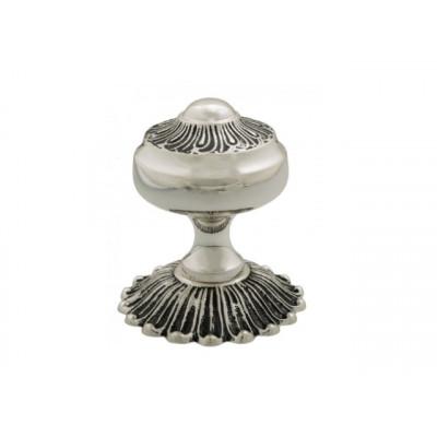 Дверная ручка Venezia R22 d65mm натуральное серебро-черный