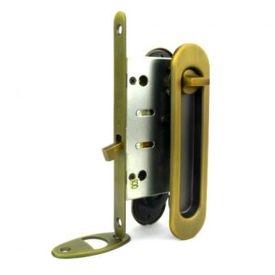 Комплект замка Armadillo для раздвижных дверей под фиксатор бронза матовая
