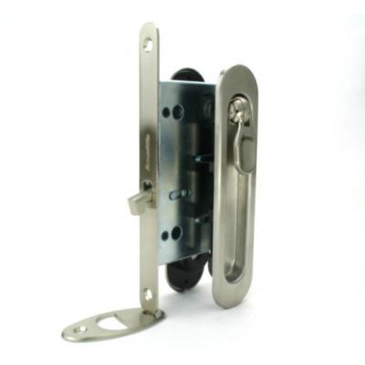 Комплект замка Armadillo для раздвижных дверей под фиксатор матовый никель