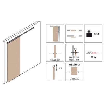 Комплект роликов для раздвижной двери KRONA KOBLENZ 0500-50ABS на двери до 50 кг