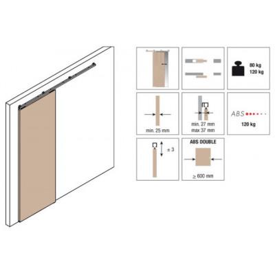Комплект роликов для раздвижной двери KRONA KOBLENZ 0500-80ABS на двери до 50 кг