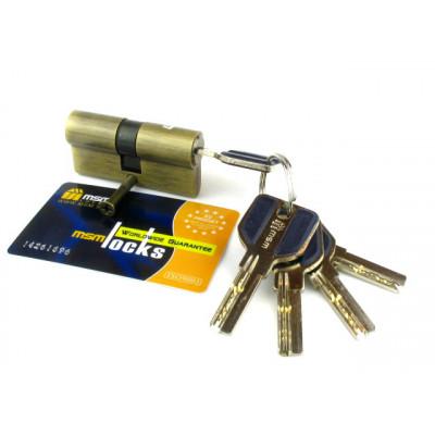 Цилиндровый механизм (личинка, сердцевина) MSM locks C60 ключ-ключ  АВ бронза